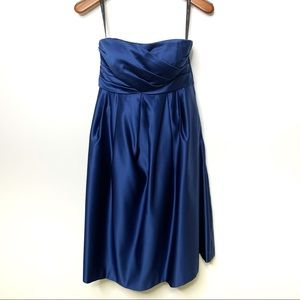 BILL LEVKOFF Strapless Blue Dress Pockets Size 6